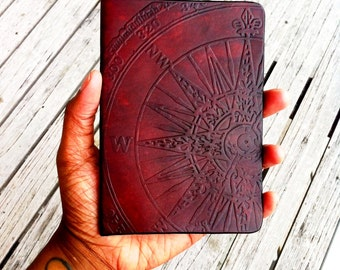 Leather Compass Passport Cover - Passport Wallet - Compass Passport Wallet - Enjoy The Journey - Wanderlust - Not All Who Wander Are Lost
