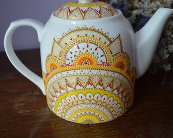 Porcelain Handpainted Teapot Gift for Mom Gift for her Gift for women Yellow Ceramic Handmade Teapot Personalized Custom present