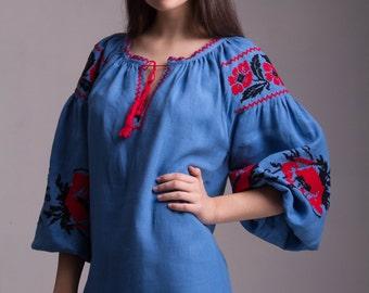 Embroidered Ukrainian Linen Vyshyvanka Dress.