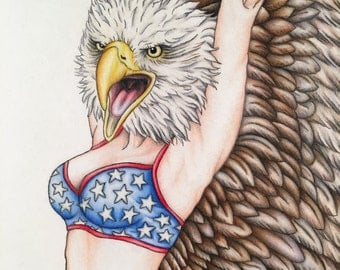 American Woman Pinup Burlesque Patriotic Artwork Print 11x14
