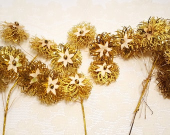 20 Piece Set of Vintage Gold Tinsel Holiday Decorations - 3 Pinwheels and 17 Ornaments Made in Japan