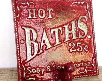 Red Bathroom Sign - Bath Sign - Bathroom Wall Decor - French Country Cottage Decor - Towel Hooks - Victorian Wall Plaque - Bathroom Wall Art