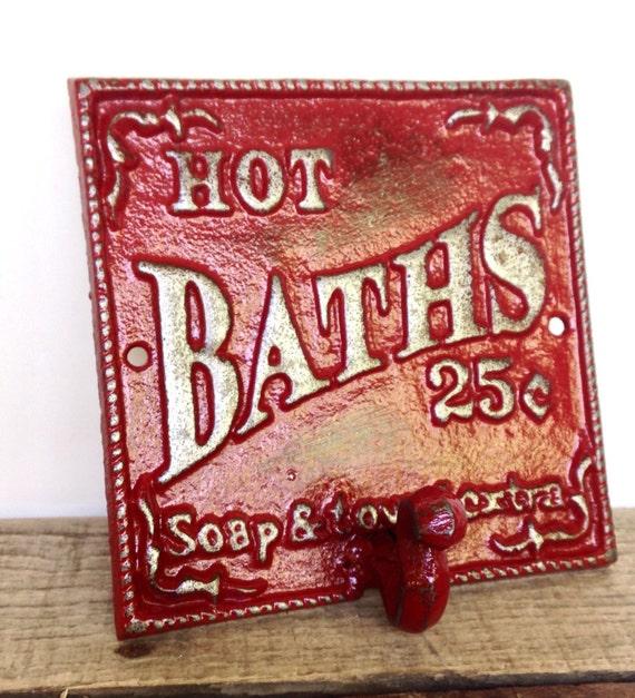 Red bathroom sign bath sign bathroom wall decor french for Red bathroom wall decor