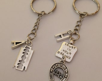 SALE * Personalized Gift Key Chain Blade Charm and Good Luck Trust in Your Dreams Initial charm Unique Gift Boyfriend gift Free gift box