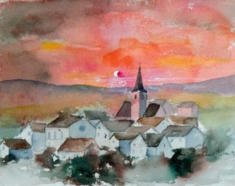 French village watercolor at sunset with a red sky,  church and houses in France original painting