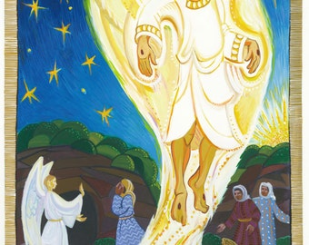 Easter art, Empty Tomb Illustration, gouache painting by Vicki Shuck, women at the tomb, Jesus resurrecton art, prayer art, Christian art