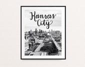 Kansas City Skyline, Kansas City Art, Kansas City Print, Kansas City, KC Print, KC, Missouri Art, Missouri Wall Art, Black and White Prints