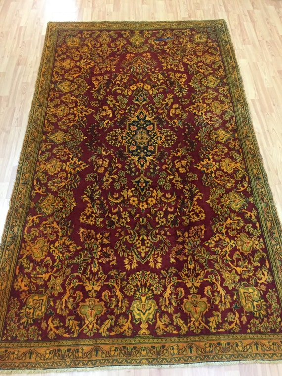"4'8"" x 8' Persian Kerman Oriental Rug - 1950s - Full Pile - Hand Made - 100% Wool"