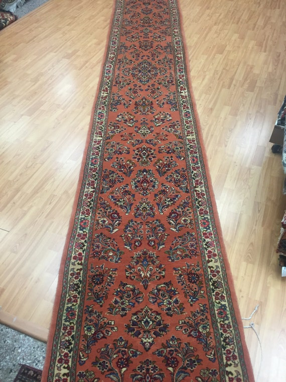 "2'8"" x 20'2"" Persian Sarouk Floor Runner Oriental Rug - Hand Made - 100% Wool"