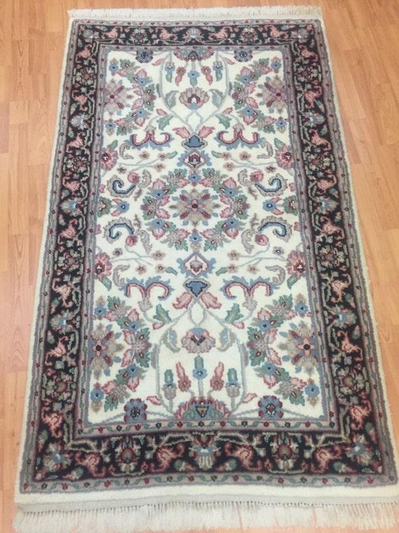 3' x 5' Indian Kashan Oriental Rug - Hand Made - Full Pile - 100% Wool