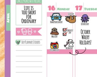 Wacky Holidays - October Planner Stickers (W10)