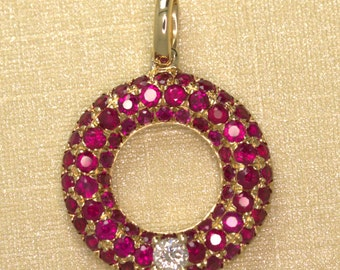 9ct rose gold ruby diamond cluster halo pendant