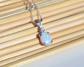 White Opal Silver Necklace, Sterling Silver, Lab Opal Necklace, Cubic Zirconia Necklace, Sterling Silver Opal Necklace