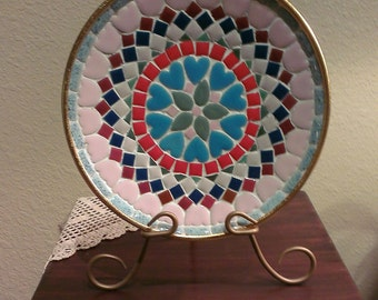 Vintage Mosaic Tile Plate With Tulips and Hearts (1960s)