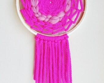 Circular Weaving. Woven Wall Art. Hoop Decor. Woven Wall Hanging. Boho Weaving. Bohemian Decor. Nursery Decor. Dream Catcher. Gypsy Decor.