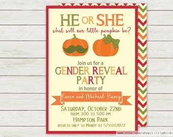 Little Pumpkin Gender Reveal | Gender Reveal Invitation | Pumpkin Invitation | Printable Invitation | Pumpkin Baby Shower Invitation