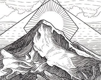 Mt Hood 5x5 Print - Mountain Art Giclee Print - Portland, Oregon Drawing