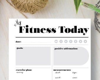 Fitness Instant Download Printable Planner.  Insert Instant Daily Planner includes A4, A5, Letter & Half Letter sizes. Fits Filofax. | #538