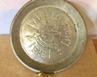 Primitive Mello Rich Pie Plate, Mrs. Smith Mello Rich Pie Pan, Rustic Kitchen Metal Pie Plate, Collectable Pie Plate, Natural Kitchen Decor