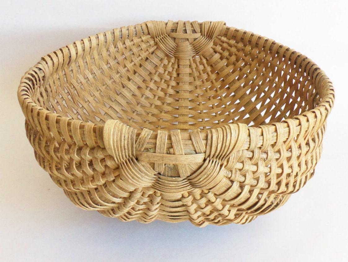 Woven Gathering Basket : Rustic hand woven gathering basket by bandboxvintagewares