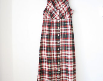 70s Wool Plaid Maxi Dress, Vintage winter dress Jumper dress Boho Long dress Tartan dress Layering Transeasonal, Oops California, Small 961