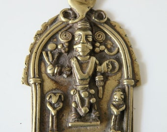 Virabhadra prayer brass plate - India - 18th / 19th century