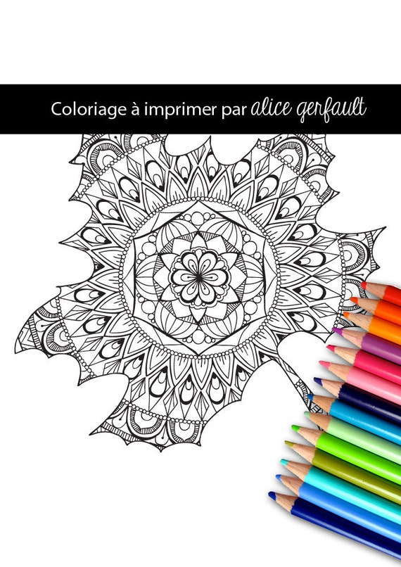 Hand drawn Adult Coloring Printable Page - Mandala in autumn leaf