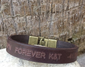 FREE SHIPPING-Men Bracelet,Men Leather Bracelet,Men Personalized Bracelet,Custom Leather Bracelet,Bracelets For Men, Engrave Unisex Cuff