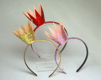 Party Crown, Princess Headband, Glitter Crown, Bachelorette Accessories, Birthday Tiara, Hens Party Crown, Photography Prop, Gold, Red, Pink