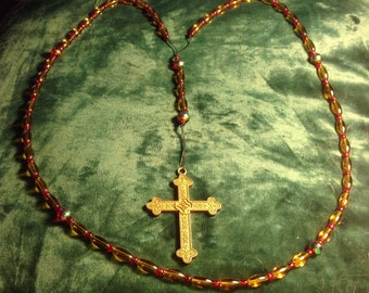 23 - Amber and red glass rosary chaplet