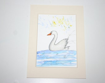 SALE Swan watercolour, original art, original painting, swan, swan art