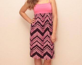 Summer Dress / Sundress/ Knee Length Dress/ Pink and Dark Lilac Dress