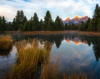 Fine Art Photo Print, Schwabacher's Landing Grand Teton National Park Wyoming Sunrise Reflection Mountain Water Landscape Nature Photography