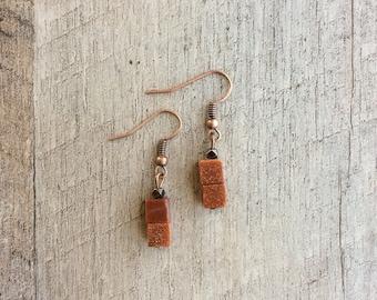 Goldstone Cube Earrings, Dangle Earrings, Beaded Earrings, Goldstone Earrings, Rustic Modern Jewelry, FREE SHIPPING U.S.