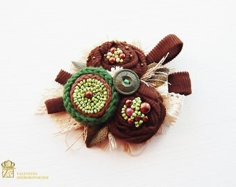 Textile Brooch. Beautiful Handmade Brooch.Yarn Knitted Boho Brooch.Shabby Chic