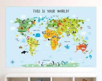 Classroom Posters, Kids World Map Poster, Classroom Decor, Classroom Decoration, Playroom Decor, Classroom Art, Teacher Classroom Decor