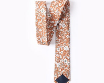 Orange Floral Skinny Tie 2.36"