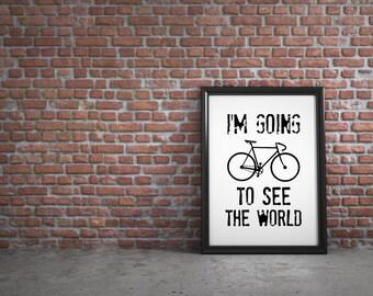 Bike poster, bicycle art, cycling print, cycling poster, bike art print, cycling art, bike gifts, travel print