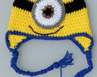 Crochet Minion Hat, Crochet Earflap Hat, Photo Prop