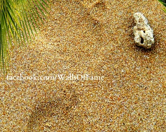 Footprint In Sand. Digital Print Thai Beach
