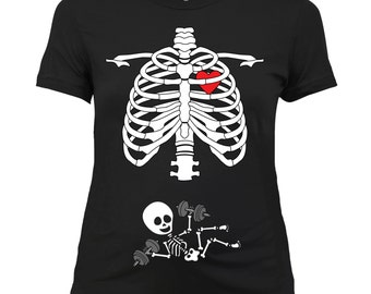 Skeleton Maternity Halloween Shirt Fit Mom Pregnancy reveal gift for her Baby announcement funny Tshirt Easy Costume Weightlifting Gym RG-28