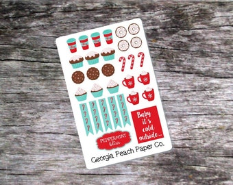 Peppermint Bliss Weekly Planner Stickers - Made to fit Vertical Layout