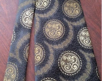 1970s Wide Tie, Olive textured,Paisley circles wide, Klipper Made in New Zealand