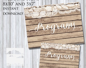 "Printable wedding sign shabby chic rustic wood and lace themed ""Programs"" sign, 5x7"" + 8x10"""