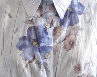 Vintage purple watercolor floral blouse