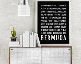 Bermuda Print, Bermuda Subway Sign Poster, Caribbean Wall Art, Décor, Canvas, Gift, Bus Scroll, Typography, Minimal, Custom, Personalized