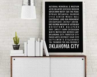 Oklahoma City Print, OKC Subway Sign Poster, Okc Wall Art, Decor, Canvas, Gift, Bus Scroll, Typography, Minimal, Custom, Personalized