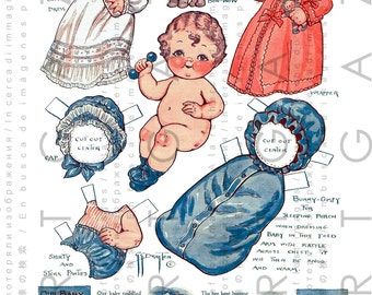 Sweet Baby Paper Doll Vintage Dolly Dingle's Chunky Nephew & His Layette Digital Grace Drayton Download Dollie Dingle Dolls