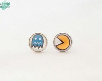 Pac-man Earrings, Cabochon, Stud Earrings, Videogames, Geek, Geekery, gaming, gamer, geek chic, pacman