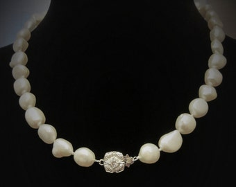 Lovely, Large, Baroque Freshwater Pearl Necklace with Charming flower clasp